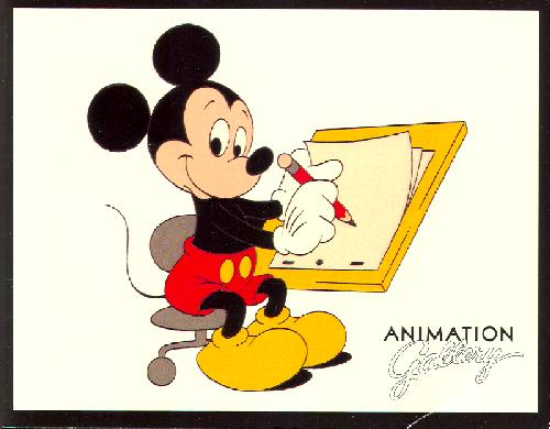 70121-500 (28K)Mickey seated at Easel animation Gallery logo
